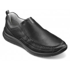 Boost Std Fit Black Leather Moccasin Style Shoe