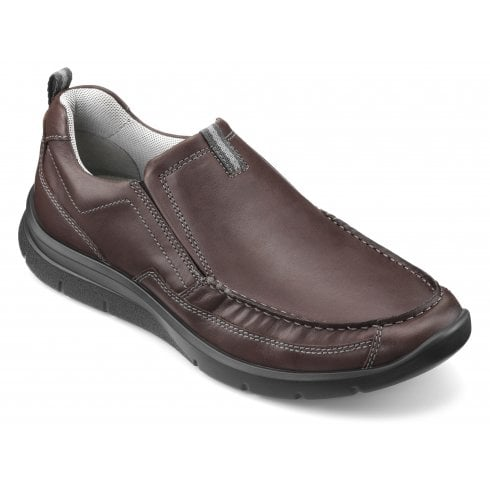 Hotter Boost Std Fit Dark Brown Leather Moccasin Style Shoe
