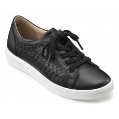 Brooke Black Std Fit Weave Leather Lace Up Shoe