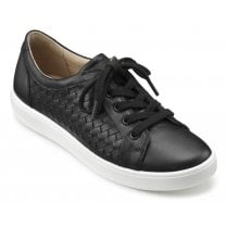 Brooke Black Wide Fit Weave Leather Lace Up Shoe