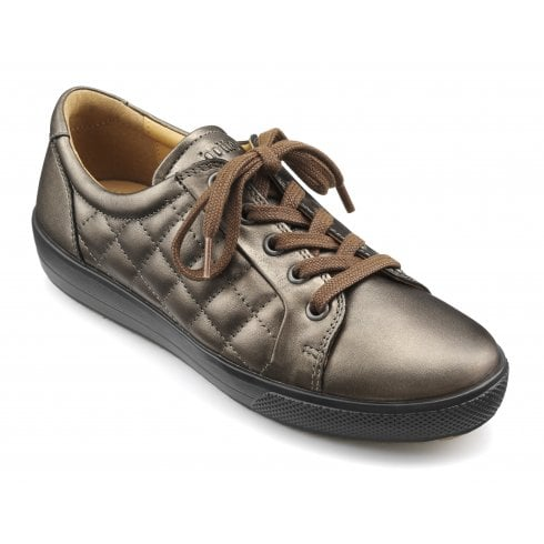 Hotter Brooke Chocolate Bronze Quilted Leather Lace Up Shoe