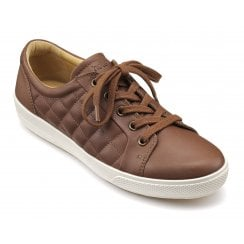 Brooke Dark Tan Quilted Leather Lace Up Shoe