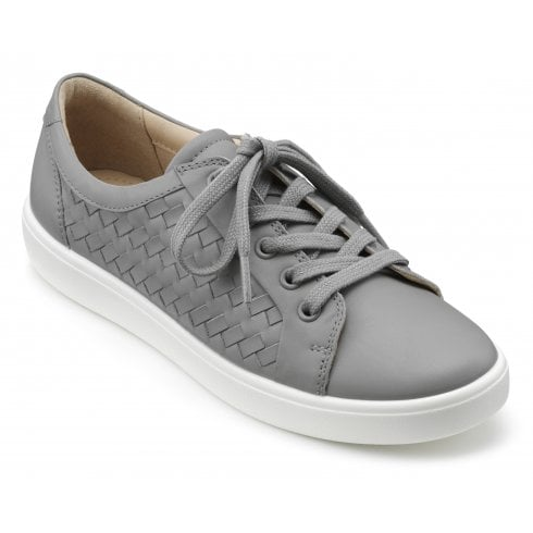 Hotter Brooke Pebble Grey Wide Fit Weave Leather Lace Up Shoe