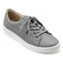 Brooke Pebble Grey Wide Fit Weave Leather Lace Up Shoe