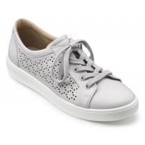 Brooke Polar White Wide Fit Punched Leather Lace Up Shoe