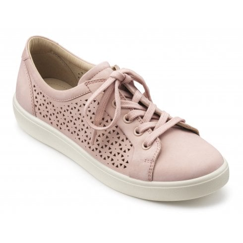 Hotter Brooke Powder Pink Std Fit Punched Nubuck Lace Up Shoe
