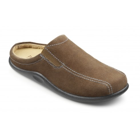 Hotter Brown winter taupe suede leather flat slipper