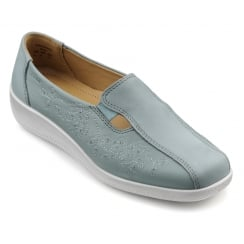Calypso Aqua Multi Leather and Nubuck Flat Slip On Shoe