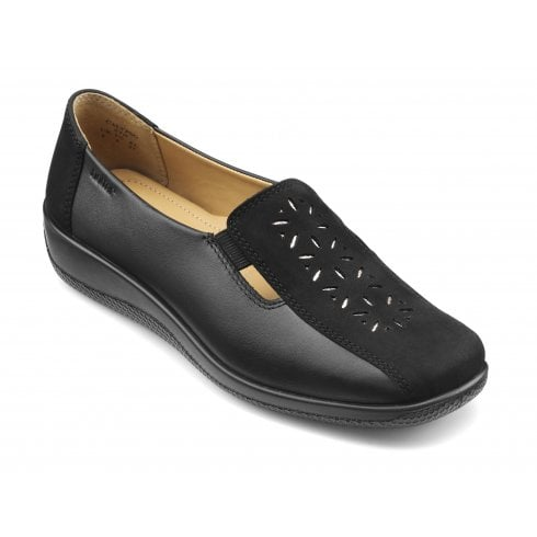 Hotter Calypso Black Wide Fit Leather/Nubuck flat Slip on Shoe