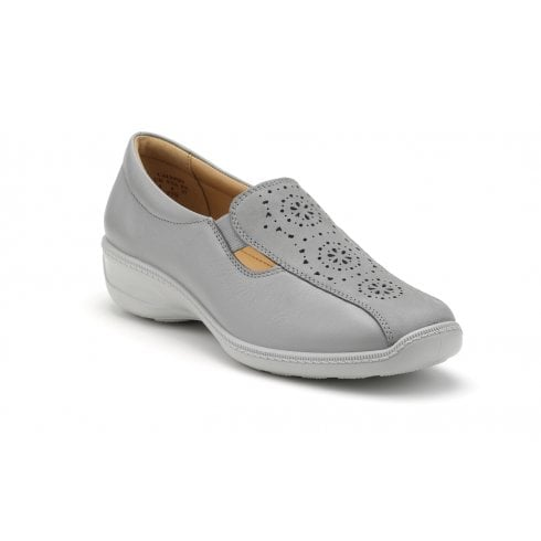 Hotter Calypso Pebble Grey Std Fit Leather Flat Slip On Shoe