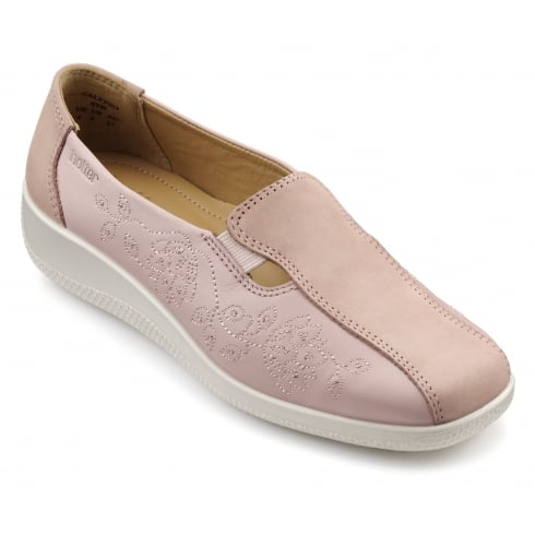Hotter Calypso Powder Pink Multi Leather and Nubuck Flat Slip On Shoe