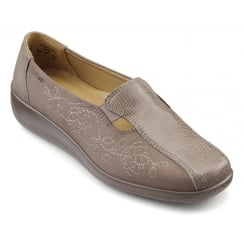 Calypso Truffle Multi Leather and Nubuck Flat Slip On Shoe