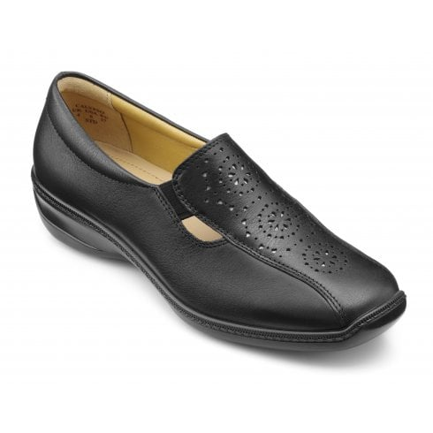 Hotter Calypso Wide Fit Black Leather Flat Slip On Shoe