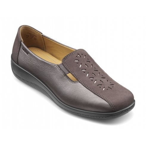 Hotter Calypso Wide Fit Gunmetal Leather/Nubuck Flat Slip On Shoe