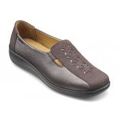 Calypso Wide Fit Gunmetal Leather/Nubuck Flat Slip On Shoe