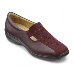 Calypso Wide Fit Maroon Leather Flat Slip On Shoe.
