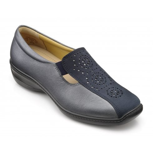 Hotter Calypso Wide Fit Navy Midnight Metallic Leather Flat Slip On Shoe