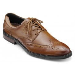 Cambridge Dark Tan Std Fit Leather Brogue Shoe