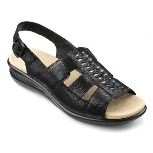 Hotter Candice Black Leather Flat Slingback Sandal