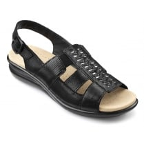 Candice Black Leather Flat Slingback Sandal