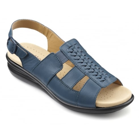 Hotter Candice Blue River Leather Flat Slingback Sandal