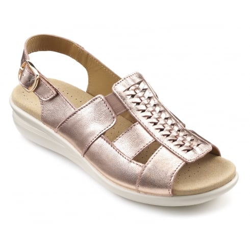 Hotter Candice Rose Gold Leather Flat Slingback Sandal