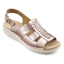 Candice Rose Gold Leather Flat Slingback Sandal