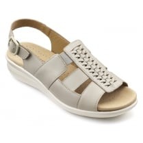 Candice Stone Leather Flat Slingback Sandal