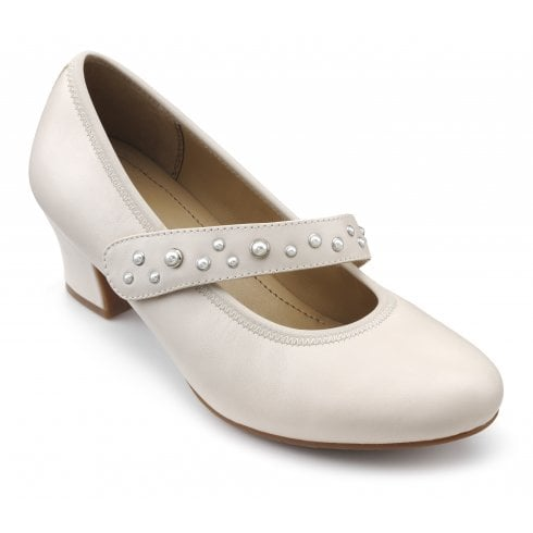 Hotter Charmaine Soft Beige/Pearl Wide Fit Leather Heeled Court Shoe