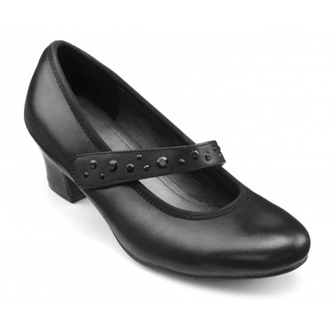 Hotter Charmaine Std Fit Black Leather Heeled Court Shoe