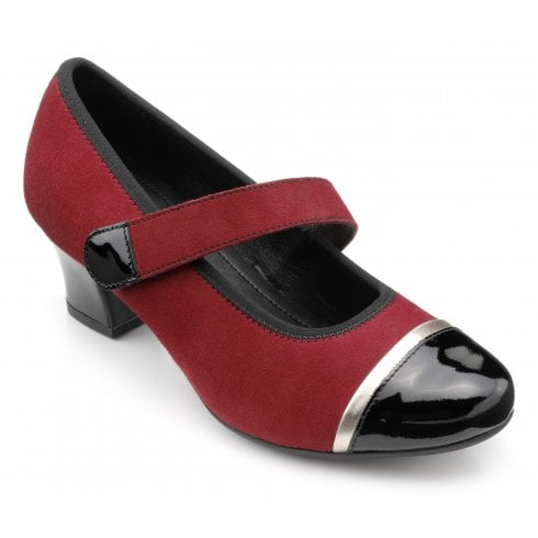 Hotter Charmaine Std Fit Claret Multi Suede Heeled Court Shoe