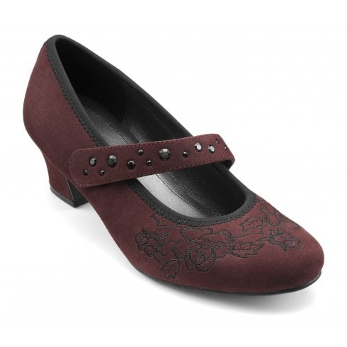 Hotter Charmaine Std Fit Maroon Suede Heeled Court Shoe