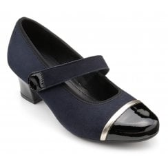 Charmaine Std Fit Navy Multi Suede/Patent Heeled Court Shoe