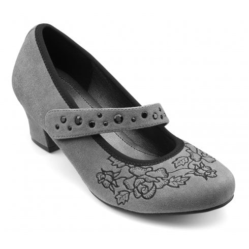 Hotter Charmaine Std Fit Slate Suede Heeled Court Shoe.