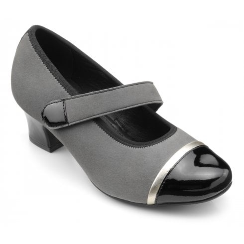 Hotter Charmaine Std Fit Urban Grey Suede/Patent Heeled Court Shoe