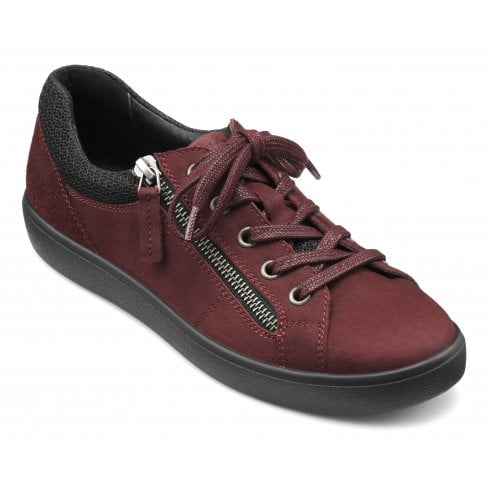Hotter Chase Maroon Suede/Nubuck Std Fit Trainer Style Shoe