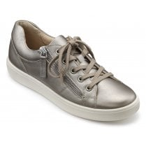 Chase Nickel Metallic Std Fit Leather Trainer Style Shoe