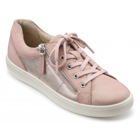 Hotter Chase Pink and Rose Gold Std Fit Nubuck/Leather Trainer Style Shoe