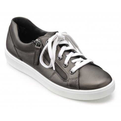 Hotter Chase Std Fit Dark Pewter Leather Trainer Style Shoe