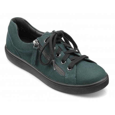 Hotter Chase Std Fit Forest Green Nubuck Trainer Style Shoe
