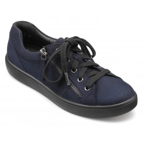 Hotter Chase Std Fit Navy Nubuck Trainer Style Shoe