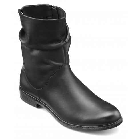 Hotter Chester Black Std Fit Leather Flat Mid-calf Boot