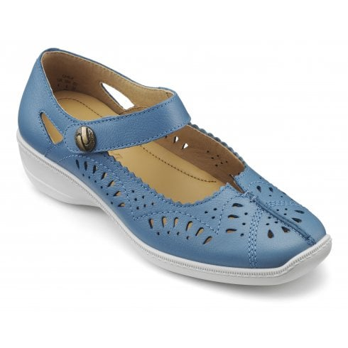 14f4064e05ed Hotter Chile French Blue Wide Fit Leather Flat Velcro Shoe - Hotter from  The Shoe Box Yarm UK
