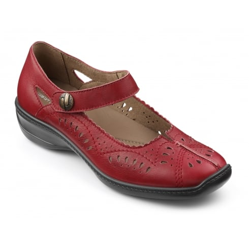 Hotter Chile Red Leather Flat Velcro Fastening Shoe
