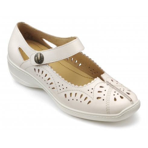 Hotter Chile Soft Beige Wide Fit Leather Flat Velcro Shoe