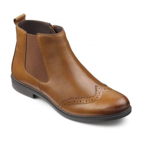 Hotter County Tan leather flat brogue style ankle boot with a side zip