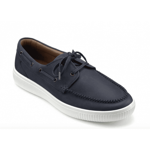 Hotter Cruise Navy Std Fit Leather Boat Shoe