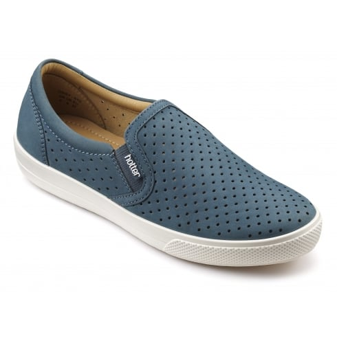 Hotter Daisy Blue River Nubuck Flat Slip On Shoe