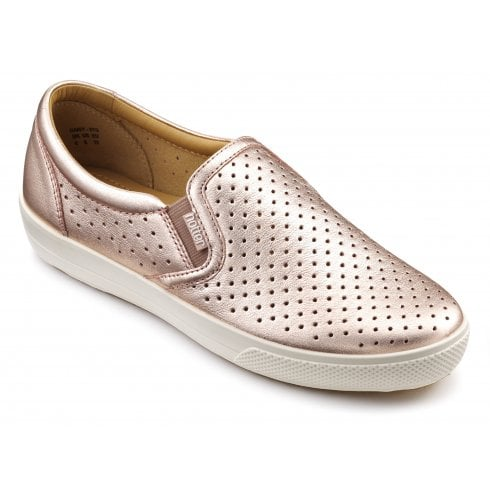 Hotter Daisy Rose Gold Wide Fit Leather Flat Slip On Shoe