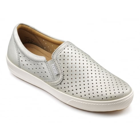 Hotter Daisy Silver Leather Flat Slip On Shoe